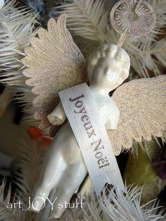 ☆ White Christmas Wonderland ☆  Frozen Charlotte angel ornament.
