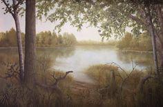 serene outdoor woods mural