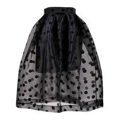 See-through Dot Full Skirt in Black ($37) ❤ liked on Polyvore featuring skirts, mini skirts, full midi skirts, see-through skirts, full pleated skirt, short skirts and sheer skirt