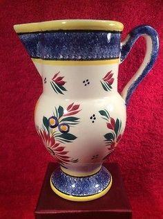 Beautiful-Vintage-HB-Quimper-A-La-Touche-Flowers-Pitcher-Vase-ff421