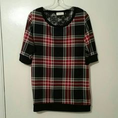 Plaid with Lace Top Cute plaid with lace around the top Tops