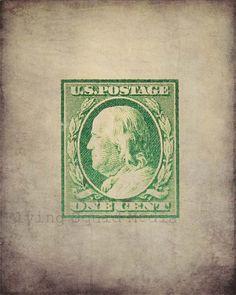 Vintage US Postage Stamps Values | One Cent Antique Postage Stamp - Vintage photo - Wall art, home decor ...
