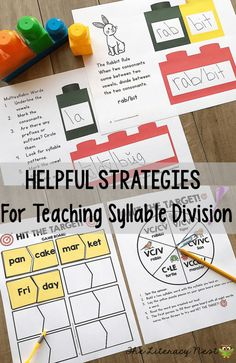 Helpful Strategies For Teaching Syllable Division: Read about the different rules for syllable division. Find ideas for syllable activities for syllable types and syllable division. The Literacy Nest Phonics Games Online, Phonics Activities, Division Activities, Teaching Techniques, Reading Intervention, Teaching Reading, Guided Reading, Phonics Reading, Reading Games