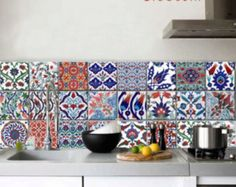 Wall decal : Turkish tile decals- 22 Designs- 2 sets- 44 TILES change the look of your existing tiles with decals - love these turkish tiles Kitchen Wall Tiles, Kitchen Decor, Backsplash Tile, Kitchen Art, Mosaic Tiles, Tile Decals, Wall Decal, Floor Decal, Turkish Tiles