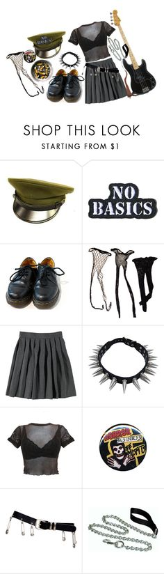 """""""punk rock"""" by loser-666 ❤ liked on Polyvore featuring Hollywood Mirror, Dr. Martens, French Toast, Versace and Handle"""