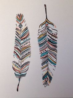 Tribal watercolor feathers