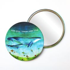 Round Pocket Makeup Mirror - Make Your Dreams Come True Whales Dream Come True, Free Black, Black Mirror, French Artists, Whales, Small Gifts, Dreaming Of You, Dreams, Make It Yourself