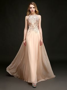 Formal Evening Dress - Pearl Pink Plus Sizes / Petite Sheath/Column Halter Floor-length / Chapel Train - USD $ 119.99
