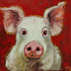 Pig painting 80 12x12 inch original oil painting by Roz by RozArt, $95.00