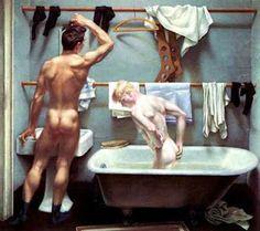 Paul Cadmus - The Bath 1951 Magischer Realismus, Malerei, Männer Kunst,  Tempera, c060468b8c