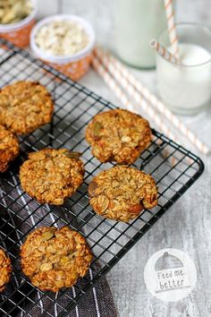 Feed Me Better: diet oat cookies without flour Oat Cookies, Sweet Tea, Cookie Recipes, Food And Drink, Sweets, Meals, Vegan, Baking, Breakfast