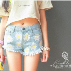 Daisy denim #shorts #teen #fashion