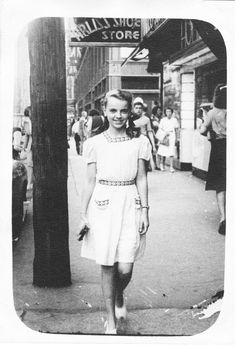 """""""This is my mother, Barbara Booth at 13 yrs. in 1948 in downtown Vancouver. Her father, George Booth died during WWII so my grandmother moved several times trying to find work. The visit to Vancouver was one of these moves."""""""