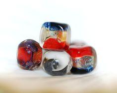 Borosilicate lampwork glass beads set, BORO earrings pairs