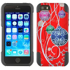 Apple iPhone 5 Hybrid Stand Case - Christmas Ornaments on Red