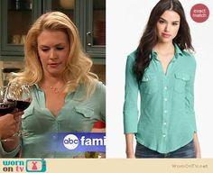 Melissa's mint green button front shirt on Melissa and Joey.  Outfit Details: http://wornontv.net/18553/ #MelissaandJoey
