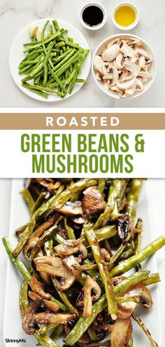 Our Roasted Green Beans and Mushrooms recipe makes for a quick, simple downright delicious recipe makes the perfect side dish for any occasion, from glamorous holiday dinners to busy weeknight meals. dinner sides Roasted Green Beans and Mushrooms Veggie Side Dishes, Healthy Side Dishes, Vegetable Sides, Side Dish Recipes, Food Dishes, Mushroom Side Dishes, Egg Recipes, Vegetable Meals, Recipes Dinner