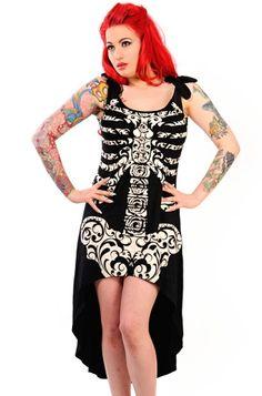 Banned Skeleton Drop Back Dress  •Black •Drop back hem •Ornate skeleton front print •Chiffon shoulder straps •97% Cotton, 3% Spandex