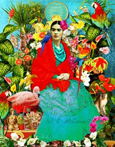 Your place to buy and sell all things handmade Frida Kahlo Portraits, Frida Kahlo Tattoos, Frida Y Diego Rivera, Mexican Flowers, Exotic Flowers, Kahlo Paintings, Frida Art, Forest Flowers, Pink Flamingos