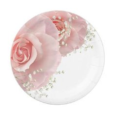 Pink Roses Baby's Breath Paper Party Plates - floral style flower flowers stylish diy personalize