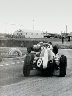 Bruce McLaren chasing his team Mate ,Jack Braham ,for the lead.Sebring 1959.