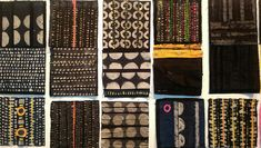 series of textile works incorporating print, batik and collage by Patricia Kelly