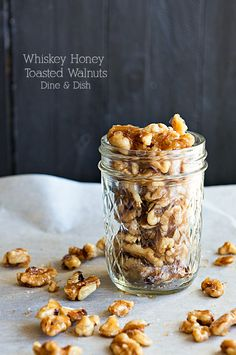 Snack Time {Recipe: Whiskey Honey Toasted Walnuts} (Dine and Dish) Nut Recipes, Snack Recipes, Cooking Recipes, Recipies, Honey Toast, Healthy Afternoon Snacks, Food Gifts, Caramel, Food And Drink