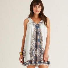One of my favorite discoveries at WorldMarket.com: Ivory and Blue Faraa Dress