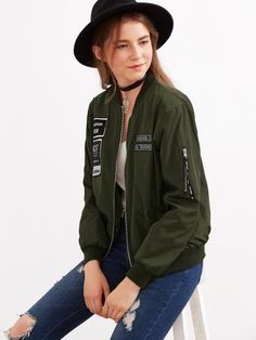 Shop Army Green Embroidered Patch Zipper Bomber Jacket online. SheIn offers Army Green Embroidered Patch Zipper Bomber Jacket & more to fit your fashionable needs.