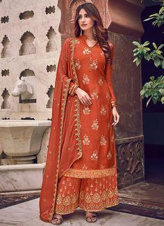 Rust Color Dress, Palazzo Suit, Palazzo Style, Palazzo Dress, Pantalon Cigarette, Indian Suits, Punjabi Suits, Punjabi Dress, Collor