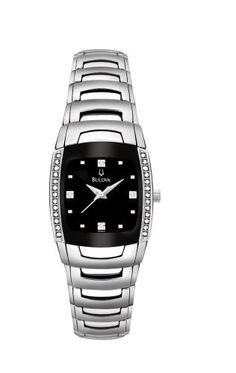 Bulova Women's 96R40 Diamond Accented Watch Bulova. $225.00. Water-resistant to 99 feet (30 M). Quality Japanese-Quartz movement. Mineral crystal. Stainless-steel case; Black dial. Save 61% Off!