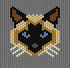 Bead-sewing graph of a Siamese cat. But I think it could also be used with a hexagonal peg-board for melty beads. Seed Bead Patterns, Beaded Jewelry Patterns, Peyote Patterns, Beading Patterns, Bead Jewelry, Bead Earrings, Bracelet Patterns, Color Patterns, Jewellery