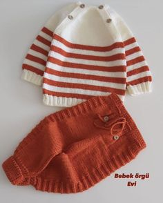 Baby Boy Sweater, Baby Sweaters, Baby Sweater Knitting Pattern, Baby Knitting Patterns, Knitting For Kids, Sewing For Kids, Crochet Baby, Knit Crochet, Knit Baby Dress