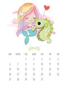 Free Printable 2019 Kawaii Mermaid Calendar