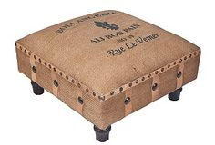 Footstool, covered with burlap or coffee bag for living room. Coffee bag writing or monogram?