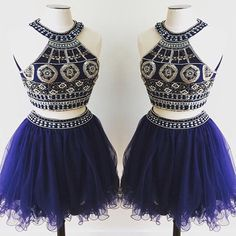 short Homecoming dress,royal blue prom Dress,charming Prom Dresses,two pieces prom dress,BD400