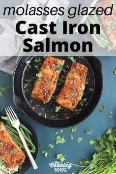 Molasses glazed cast iron salmon, glazed with molasses, bacon and balsamic vinegar, is a delicious meal you can whip up in under 30 minutes. Quick Recipes, Quick Meals, Cast Iron Salmon, Mustard Salmon, Aged Balsamic Vinegar, Pan Seared Salmon, Quick Easy Dinner, 30 Minute Meals, Weeknight Meals