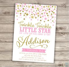 Twinkle Twinkle Little Star Confetti Birthday Invitations Pink Gold Glitter Theme Party girl First Birthday Digital Printable Invitations by cardmint on Etsy https://www.etsy.com/listing/230128333/twinkle-twinkle-little-star-confetti