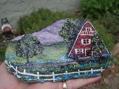 art work for gardens   HOME FOR SALE hand painted garden art by MyGardenRocks on Etsy
