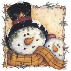 Happy Snowman - Mary Ann June - Fine-Art Print -christmas art prints and posters Frosty The Snowmen, Cute Snowman, Snowman Crafts, Christmas Snowman, Winter Christmas, Christmas Holidays, Christmas Decorations, Christmas Ornaments, Snowman Faces