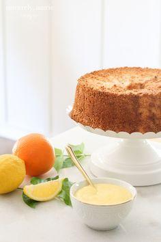 Fresh Citrus Angel Food Cake with Lemon Curd