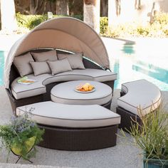 Outdoor Belham Living Rendezvous All-Weather Wicker Sectional Daybed - XN014ASET-BLUE