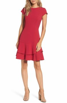 Main Image - Eliza J Stretch Crepe Sheath Dress (Regular & Petite)