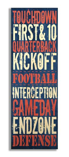 The Kids Room Touchdown' Football Typography Wall Plaque