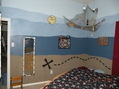 a pirate toy room. even kaylee likes pirates. Pirate Bedroom, Kids Bedroom, Pirate Kids, Painted Walls, Toy Rooms, Man Room, Pirate Theme, Playrooms, Room Themes