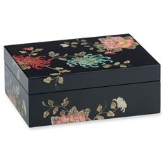 Marchesa By Lenox Multi Painted Camellia Rectangular Covered Box ($185) ❤ liked on Polyvore featuring home, home decor, small item storage, multi, vintage wood box, vintage wooden box, jewelry trinket box, wooden box and wood box