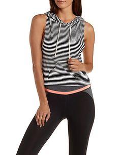 Striped & Sleeveless Cropped Hoodie #ISportCharlotte #CharlotteLook #GetActive