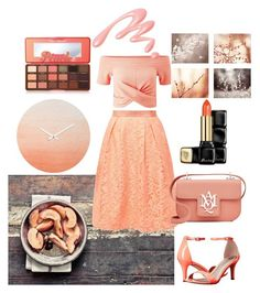 """""""Peach Perfect!"""" by mejmiranda on Polyvore featuring Miss Selfridge, Ted Baker, Michael Antonio, Alexander McQueen, Too Faced Cosmetics, Guerlain and Chantecaille"""