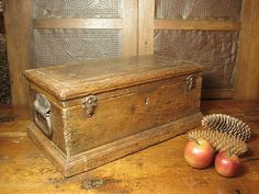 Marvelous Early Old Hand-Dovetailed Small Wooden Trunk  $125