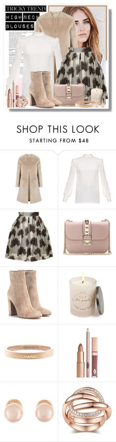 """High Neck Blouses"" by girllondon ❤ liked on Polyvore featuring Helmut Lang, Hillier Bartley, Orla Kiely, Valentino, Gianvito Rossi, Free People, Chanel, Kenneth Jay Lane, women's clothing and women's fashion"